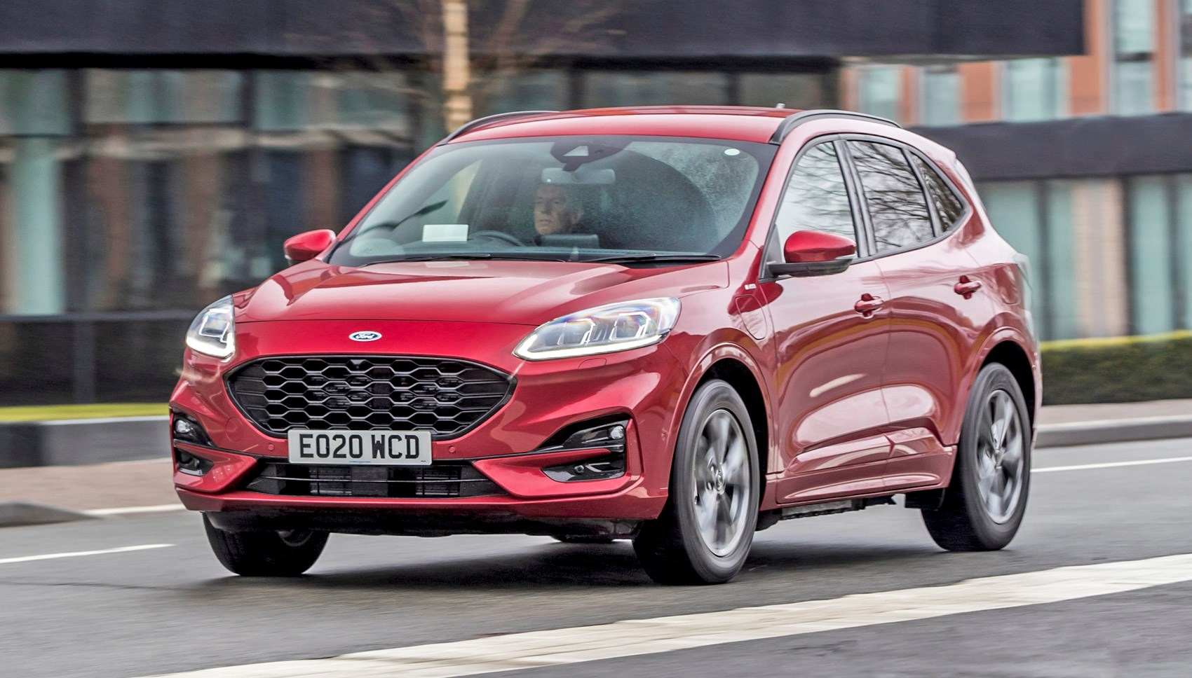 Lucid Red 2020 Ford Kuga ST-Line First Edition PHEV front three-quarter driving
