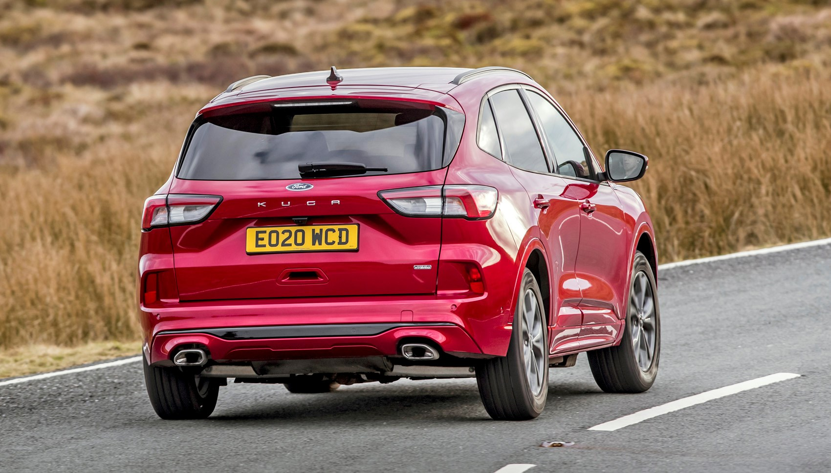 Lucid Red 2020 Ford Kuga ST-Line First Edition PHEV rear three-quarter driving