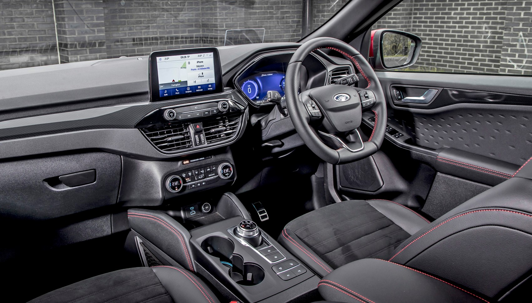 Lucid Red 2020 Ford Kuga ST-Line First Edition PHEV dashboard viewed from passenger side