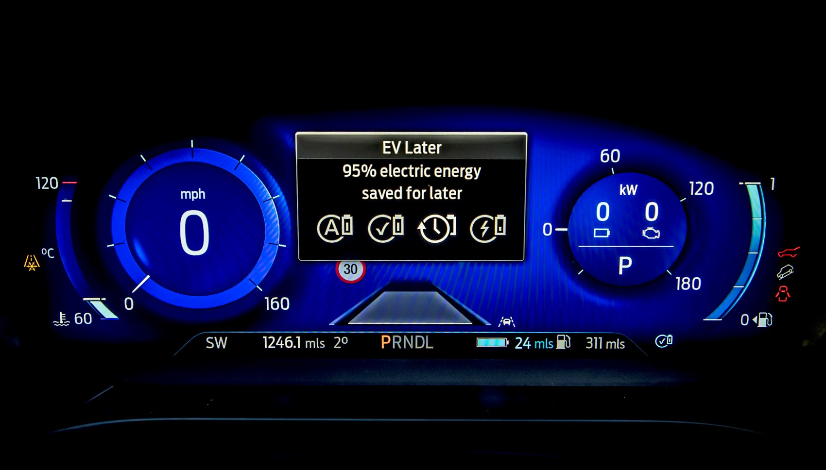 Lucid Red 2020 Ford Kuga ST-Line First Edition PHEV 12.3-inch digital instrument cluster