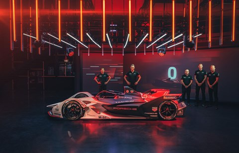 Porsche's Formula E racer, unveiled in Germany by Pascal Zurlinden (third from right)
