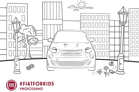 Fiat 500 colouring page
