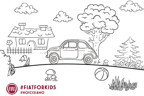 Fiat 500 classic colouring page