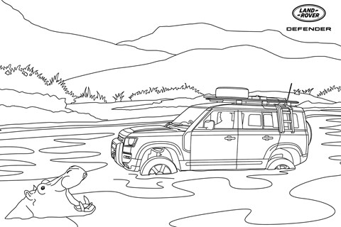 Land Rover Defender colouring-in
