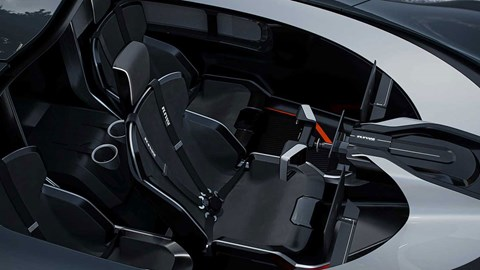 Inside the Koenigsegg Raw concept's interior: a McLaren F1-style central driving position