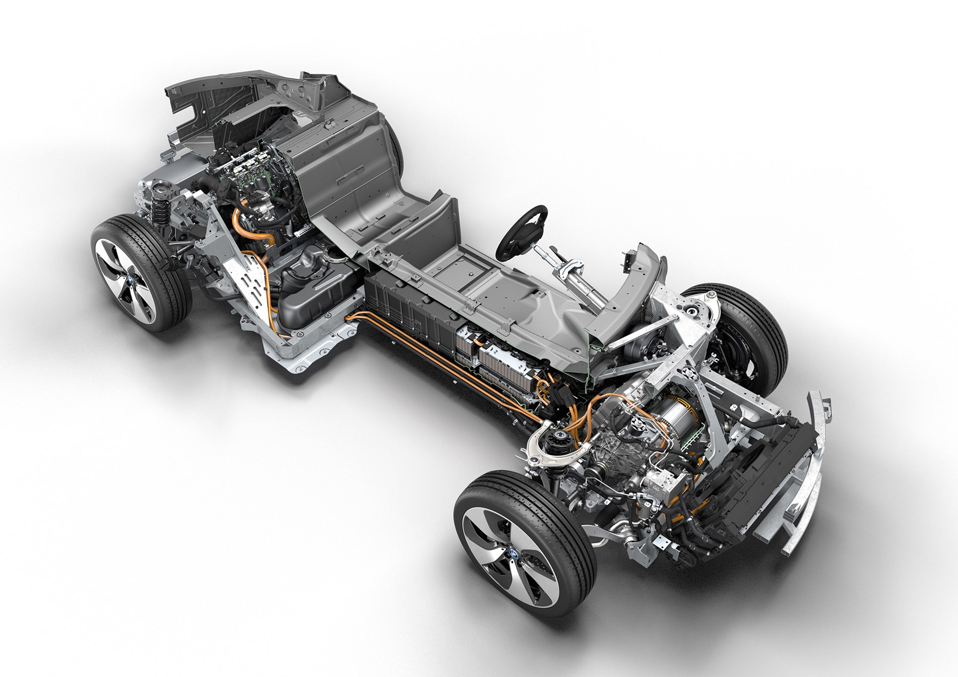 BMW i8 cutaway showing batteries and range-extender engine