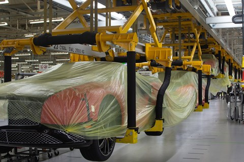 Bentley's production line in suspended animation