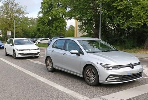 New 2020 VW Golf Estate (white car) lines up alongside Mk8 Golf hatch