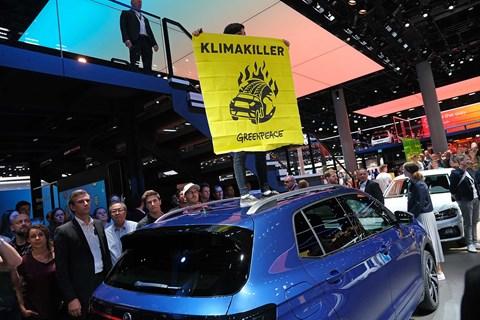Climate change protestors gatecrashed VW's stand at Frankfurt IAA