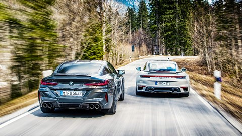 New 2020 Porsche 911 Turbo S vs BMW M8 Competition twin test review by CAR magazine