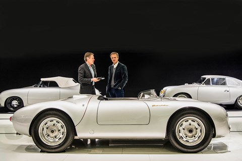 550 Spyder in the Porsche Museum: 'I'd love to do a pure new sports car, reduced to the maximum,' muses Michael Mauer (right)