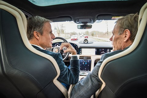 Micheal Mauer (left) drives CAR magazine's Gavin Green in the new Porsche Taycan Turbo