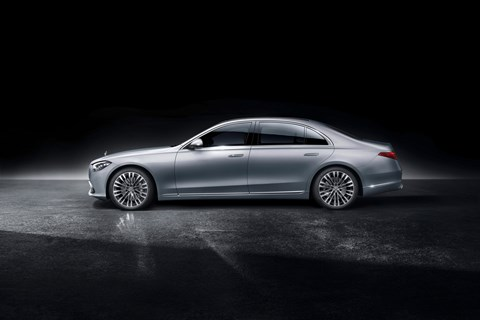 New Mercedes-Benz S-Class W223, 2020, side view, silver, studio