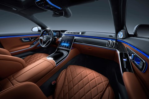 New Mercedes-Benz S-Class W223, 2020, interior, wide view, front, brown
