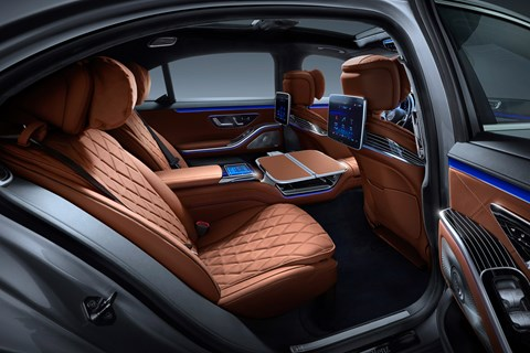 New Mercedes-Benz S-Class W223, 2020, interior, brown, rear, screens