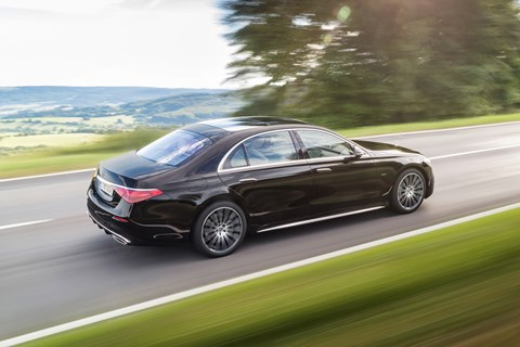 New Mercedes-Benz S-Class W223, 2020, rear view, black, driving