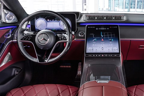 New Mercedes-Benz S-Class W223, 2020, interior, red, screen