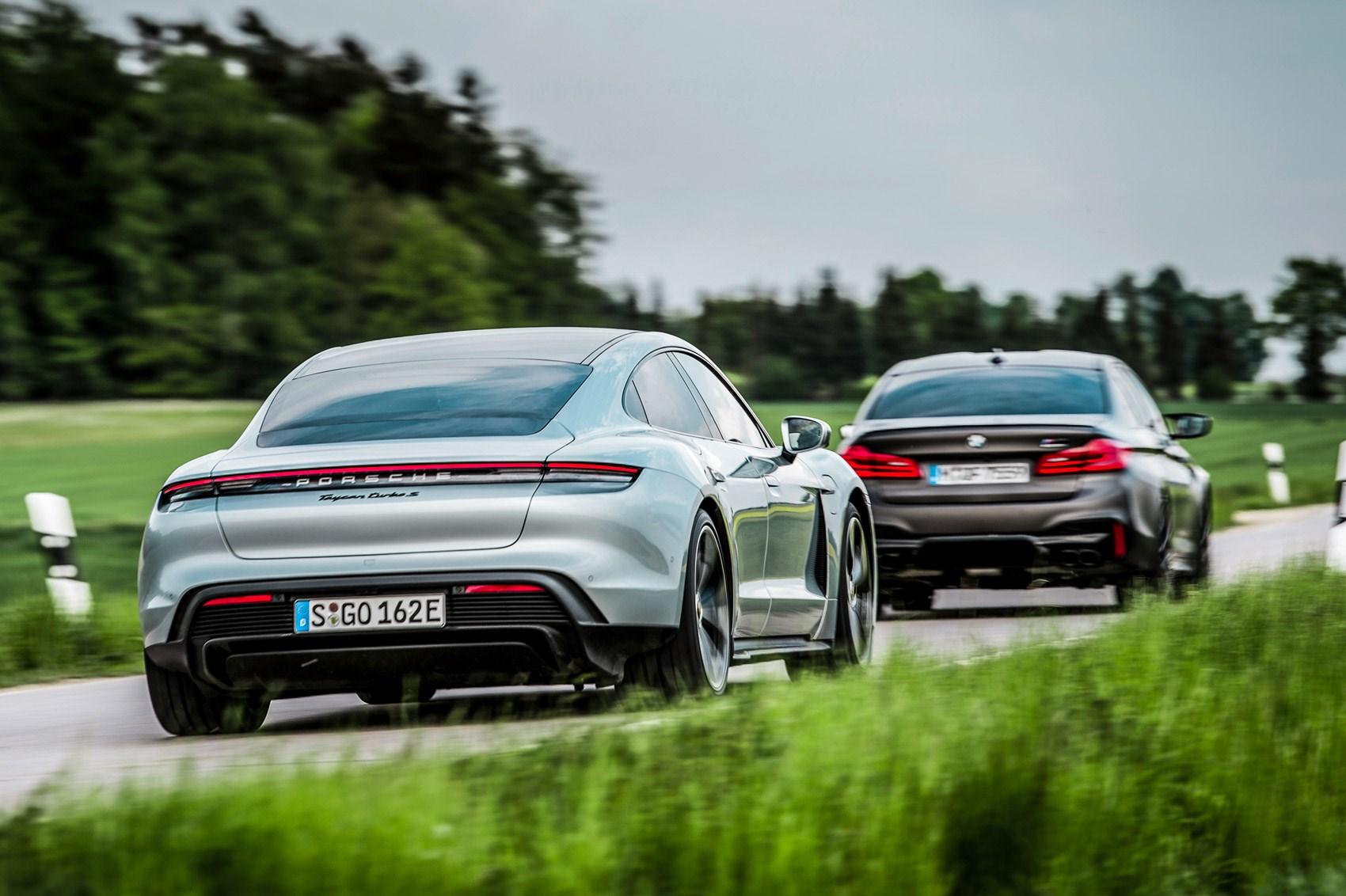 Porsche Taycan Vs Tesla Model S Vs Bmw M5 Vs Polestar 1 Group Test 2020 Review Car Magazine