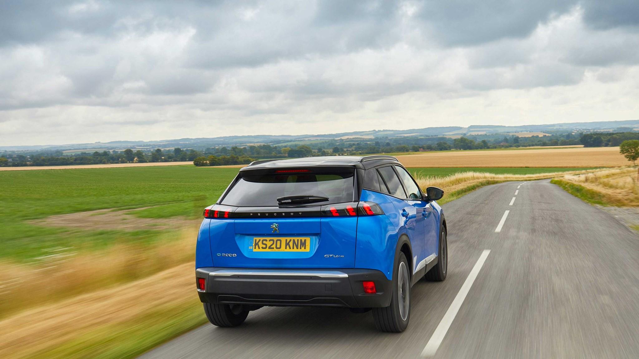 Peugeot e-2008 rear driving shot (UK spec)