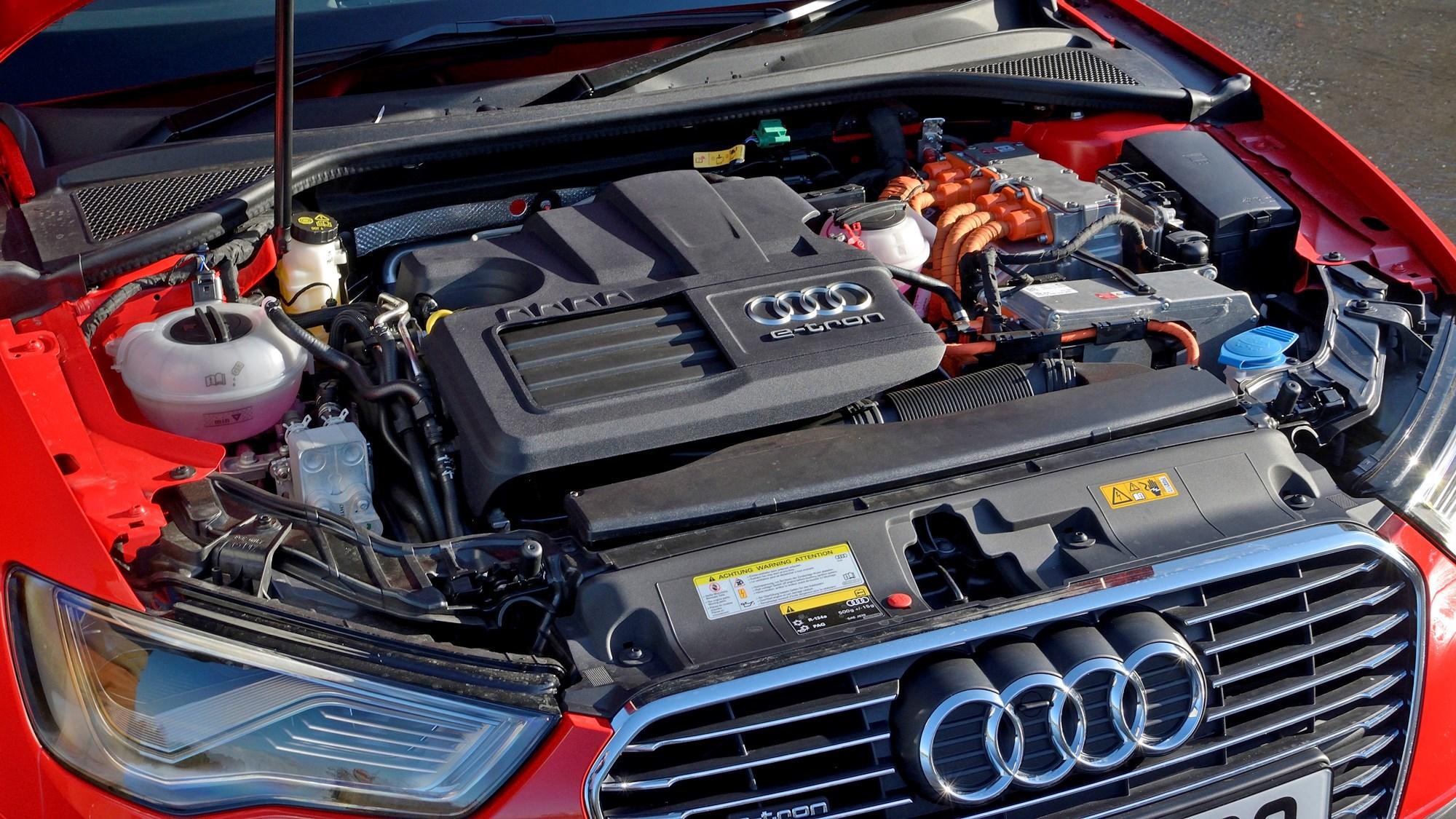Red 2014 Audi A3 Sportback e-Tron engine bay