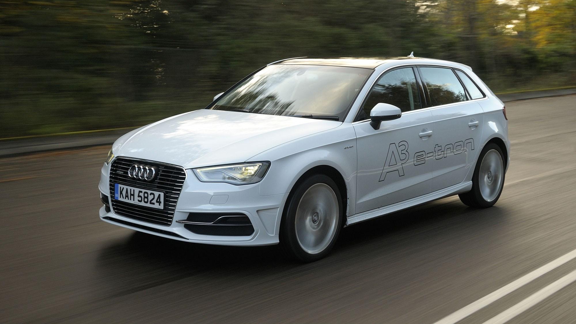 White 2014 Audi A3 Sportback e-Tron front three-quarter driving