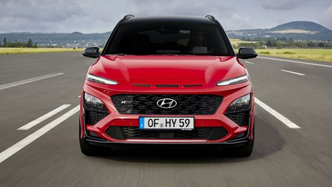 Hyundai Kona N-Line, 2020, red, dead-on front view