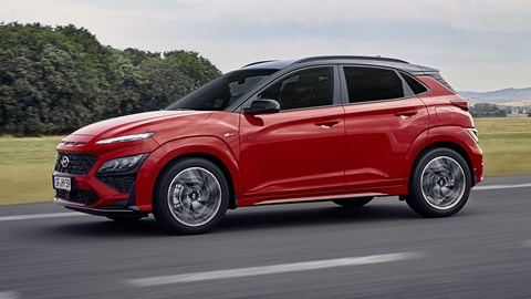 Hyundai Kona N-Line, 2020, red, front view, driving