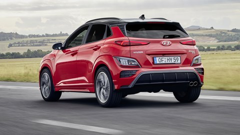 Hyundai Kona N-Line, 2020, red, rear view, driving