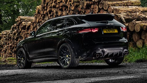 Lister Stealth - rear view, showing diffuser, 23-inch wheels and carbonfibre exhaust tips