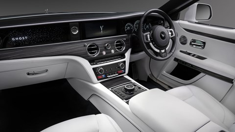 Rolls-Royce Ghost, 2020, interior, glowing Ghost nameplate