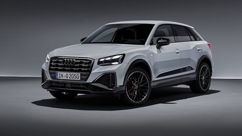 Audi Q2 2020 facelift, front view, studio, grey