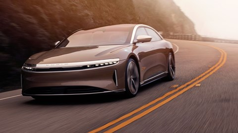 Lucid Air electric car, driving, front