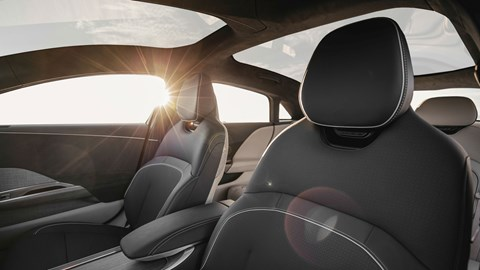 Lucid Air electric car, interior, front seats, glass canopy roof