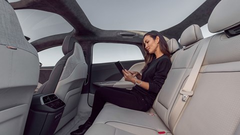 Lucid Air electric car, interior, rear legroom with passenger
