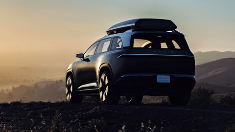 Lucid Motors Project Gravity SUV teaser image, rear, mountains