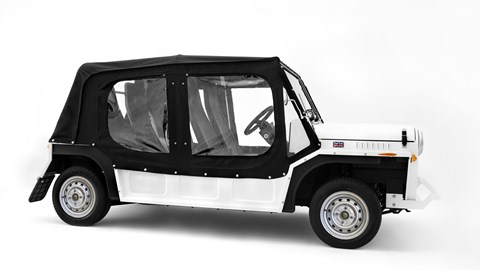 Moke International Moke, now on sale in the UK, Coconut White, side view, with hood roof