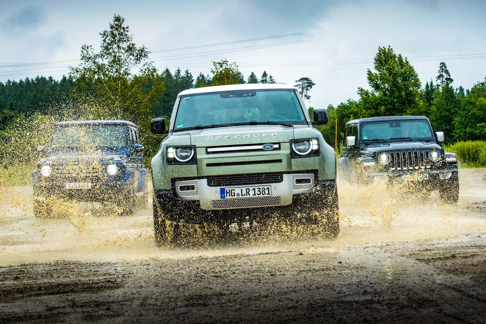 Land Rover Defender vs Jeep Wrangler vs Mercedes G-Class group test review