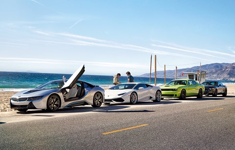 road trip video of bmw i8 and lamborghini huracan vs dodge srt hellcat and ford mustang by car. Black Bedroom Furniture Sets. Home Design Ideas