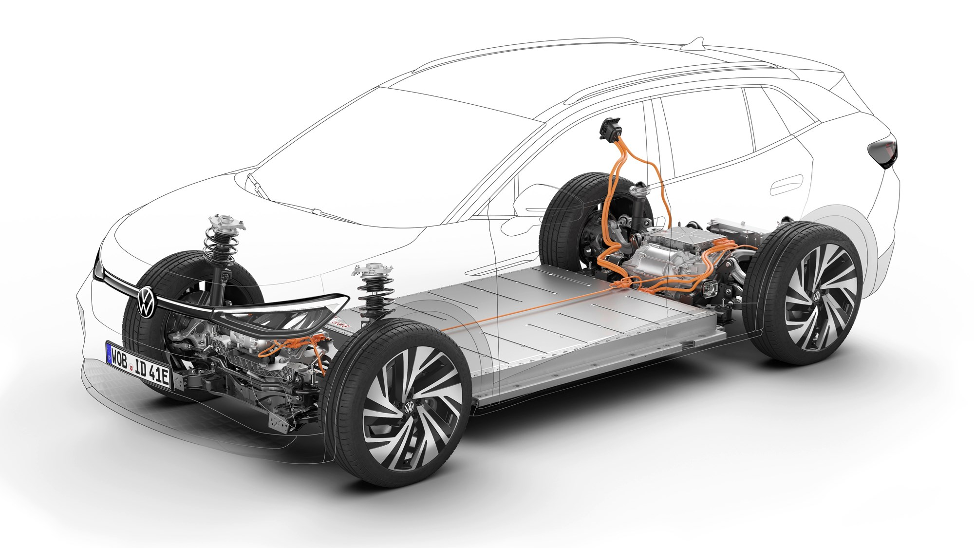 2021 Volkswagen ID.4 battery and electric motor locations