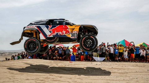 Peugeot getting some air at the 2018 Dakar rally