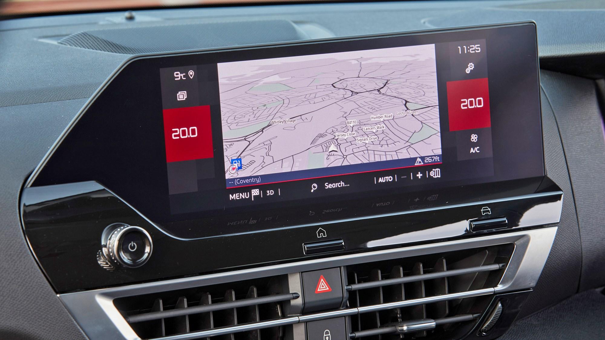 Red 2021 Citroen C4 multimedia screen close-up