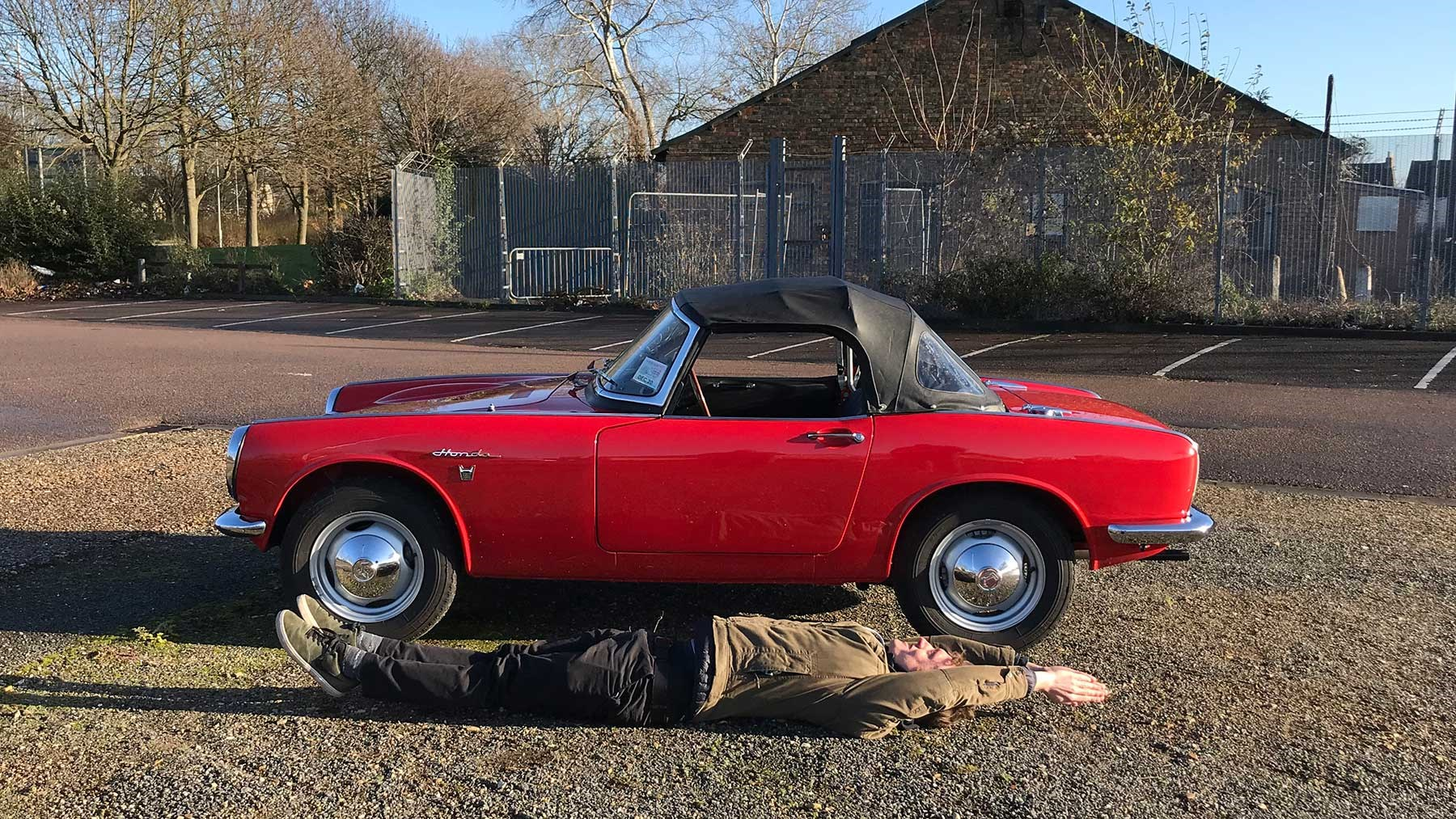 Honda S800 is small: CAR magazine's James Taylor for scale!