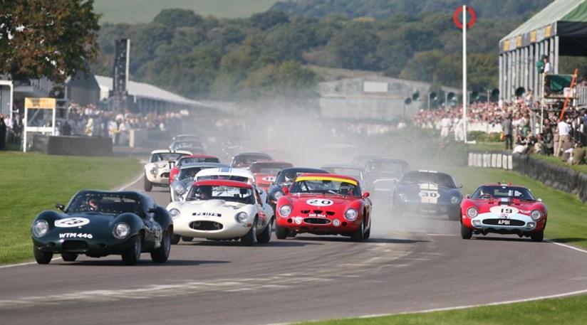 The RAC Club TT race started amongst the dust left by an AC Cobra who