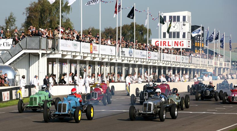 A line of ERAs blast away from the line in the Goodwood Trophy race. Ludovic Lindsay in the historic Remus, here in the centre, won