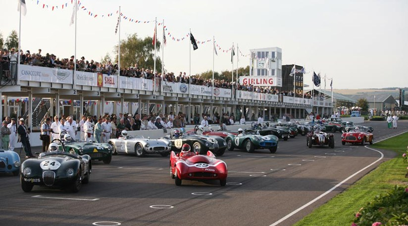 For the Freddie March Memorial Trophy the cars  were set out for a Le Man style start
