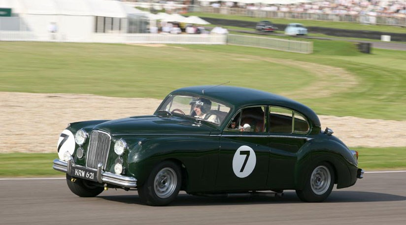 Rowan Atkinson at the wheel of his Jaguar MkVII during practice for the St Mary