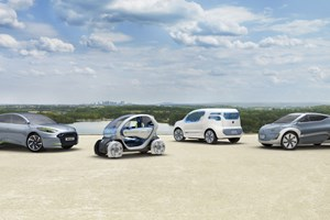 Left to right: Fluence ZE, Twizy ZE, Kangoo ZE, Zoe ZE