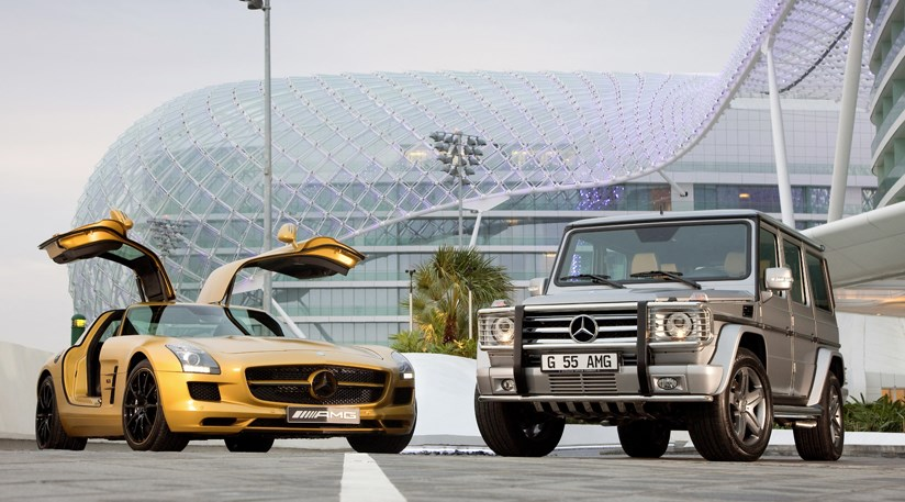 Mercedes SLS AMG In U0027AMG Desert Goldu0027 Alongside Mercedes G55 Kompressor  Edition 79 ...