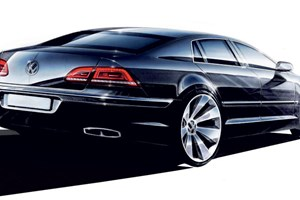 The next VW Phaeton is due in 2015. This is actually a design sketch for the current Phaeton