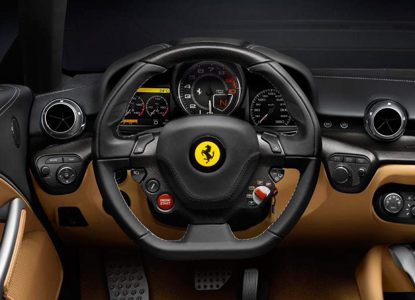 Inside the cabin of the Ferrari F12 Berlinetta. This is the driver